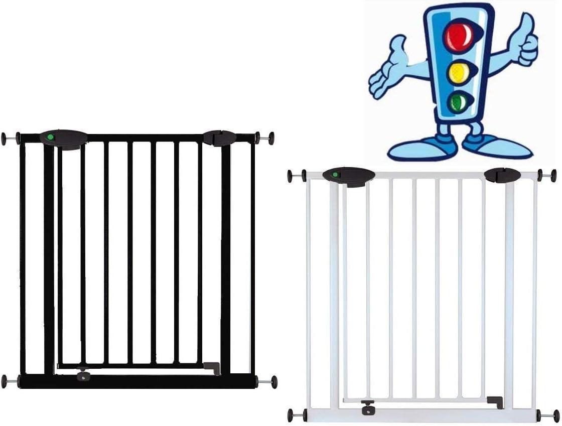 Van Hoogen® Traffic Light - Puerta de seguridad para puertas y escaleras (73 - 222 cm, 2 colores, fijación sin taladro) negro Negro Talla:73 - 82 cm: Amazon.es: Bebé