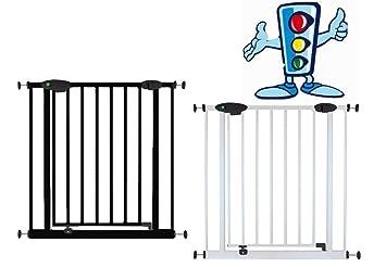 van Hoogen® Modelo TWEETY blanco | 73-222 cm | 2 colores | a presión | sin taladrar | Reja de seguridad para puertas y escaleras con función semáforo ...