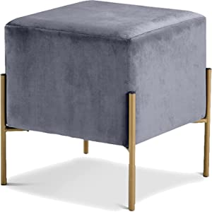 Meridian Furniture Isla Collection Modern | Contemporary Velvet Upholstered Ottoman/Stool with Sturdy Stainless Steel Legs in Gold Finish, 15.5