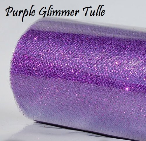 1 X Wedding GLITTER Tulle Roll 6in x 30ft PURPLE Sparkling Tulle (10 yards) ()
