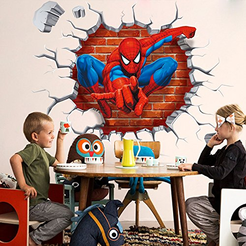 NOMSOCR 3D Wall Stickers, Vinyl Stickers DIY Family Decor Wall Art for Kids Living Room Bedroom Bathroom Tile Office Home Decoration (Spider Man) by NOMSOCR (Image #6)