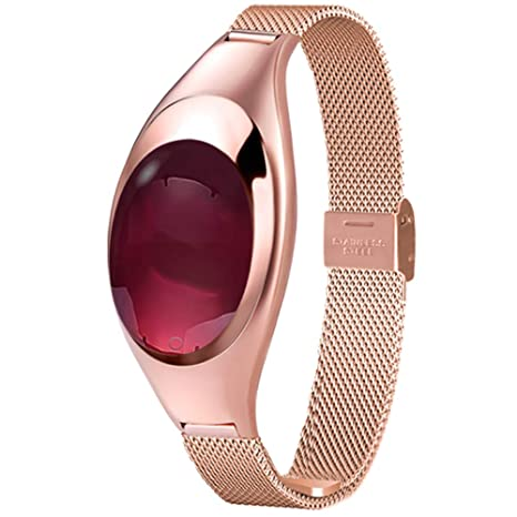 QL Smartwatch Reloj Elegante de Las Mujeres, Z18 a Prueba de Agua Pulsera Lady Vintage con Contador de calorías Presión Arterial/Monitorización de la ...