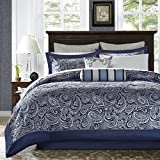 King Size Bed in a Bag Madison Park Aubrey King Size Bed Comforter Set Bed In A Bag - Navy, Grey , Paisley Jacquard - 12 Pieces Bedding Sets - Ultra Soft Microfiber Bedroom Comforters