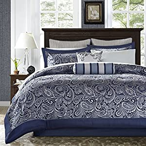 Madison Park Aubrey King Size Bed Comforter Set Bed In A Bag – Navy, Grey , Paisley Jacquard – 12 Pieces Bedding Sets…