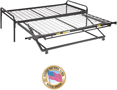 Twin Size Dark Black Metal Day Bed Daybed Frame Pop Up Trundle 33'' Special Size