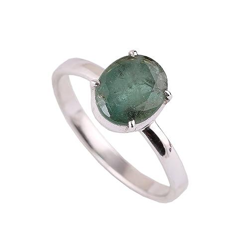 neerupam Collection 925 plata de ley Natural (Panna piedra esmeralda anillo) Esmeralda Diamante Anillo de compromiso para las mujeres y las niñas: ...