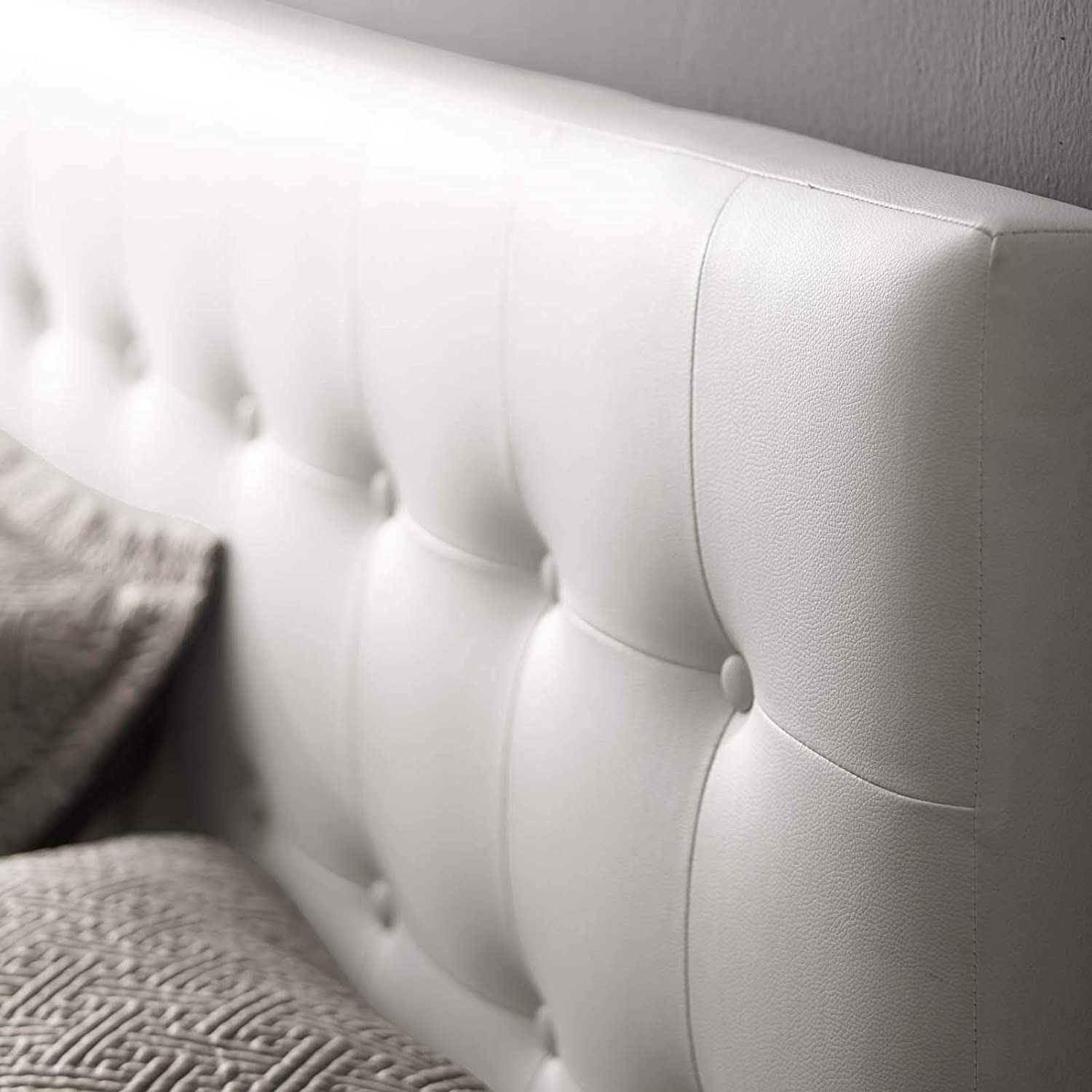 Modway Emily Tufted Button Faux Leather Upholstered Queen Headboard in White