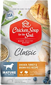 Chicken Soup for The Soul Mature Dog Food, Chicken, Turkey & Brown Rice Recipe, 13.5 lb. Bag | Soy Free, Corn Free, Wheat Free | Dry Dog Food Made with Real Ingredients
