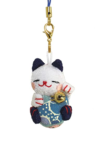 25c11fa6e4f6d4 Amazon.com: Lucky Cat Smartphone Cell Phone Charm (White/Blue): Cell Phones  & Accessories