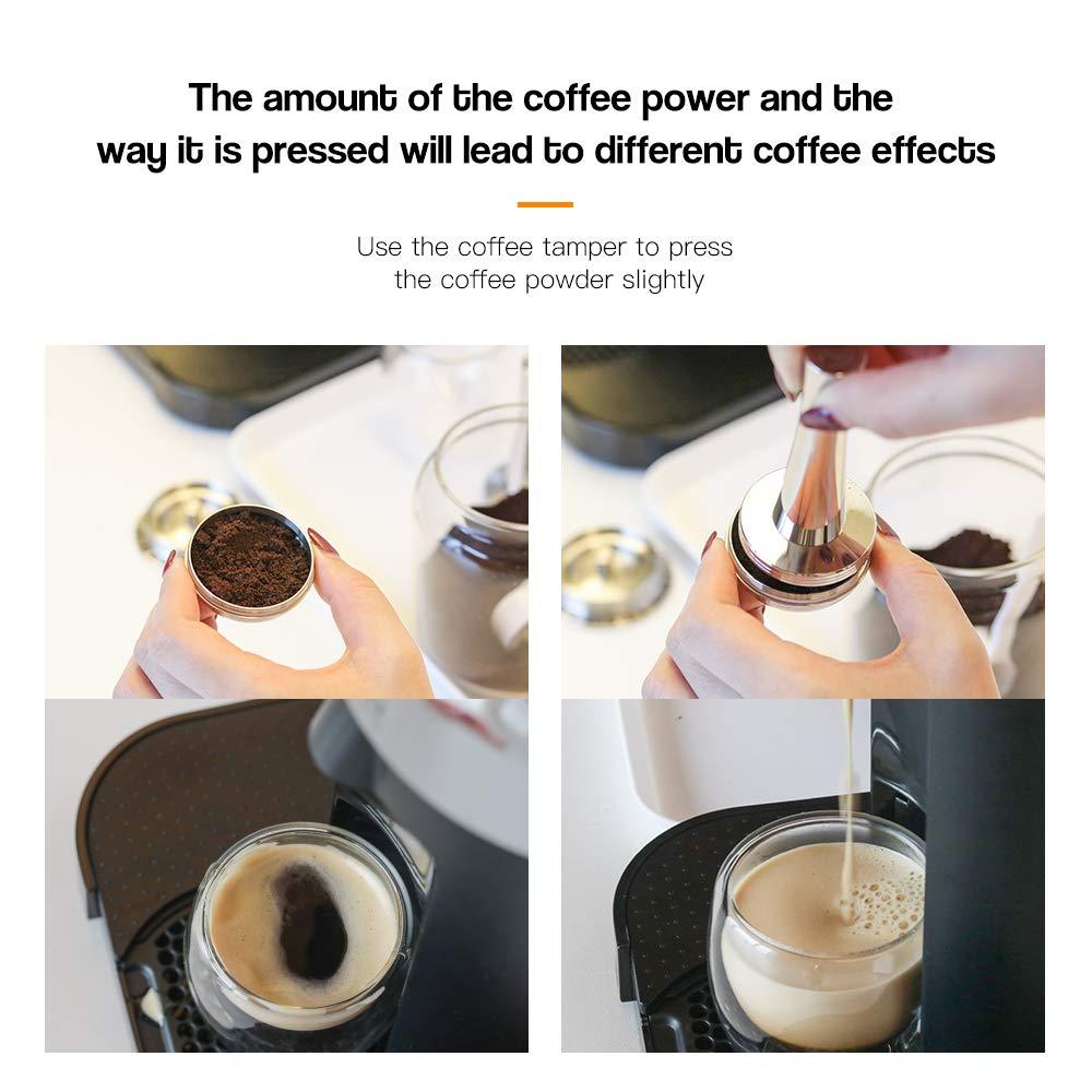 Grande Tasse Cuill/ère et Pinceau R/éutilisable Dosettes De Caf/é Pour Nespresso Vertuo Machine i Cafilas Rechargeable Nespresso Vertuo Capsules Acier Inoxydable