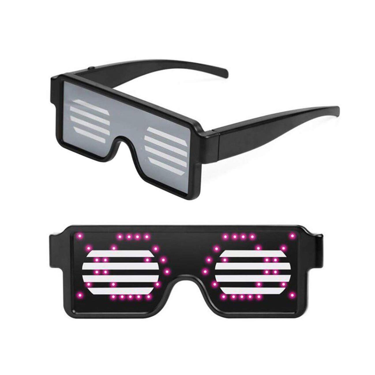 Halloween,Christmas Birthday Party imarron Pro LED Flashing Glasses Rechargeable Light Up Neon Shutter LED Glasses Festival Rave Party LED Eye Glasses with 8 Modes for Kids and Adults in Club