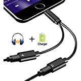 2 in 1 Lightning Jack Adapter for iPhone X /8/8Plus7/7Plus&ipod&ipad, Dual Lightning Headphone Adaptor Charger Converter. Support Call & Listen & Charge. (Black)(Support 10.3/11 System)
