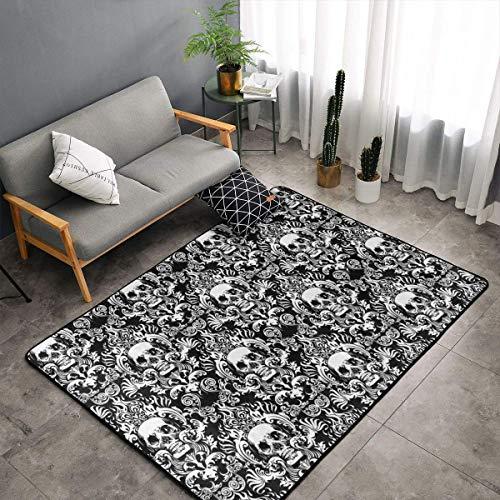 Bedroom Living Room Kitchen King Size Area Rug Home Decor - Vintage Skull Floor Mat Doormats Quick Dry Bath Mat Yoga Mat Throw Rugs Runner (60 x 39 Inch)