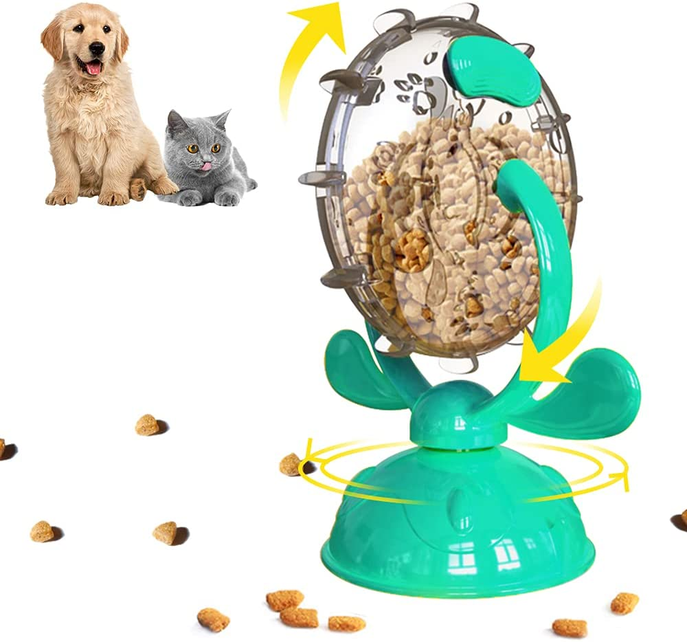 TIANHAO Cat Toys, Cat Slow Feeder Windmill Treat Dispenser Dog Toys with Suction Cup, 360° Rotable Interactive Cat Toys for Indoor Cats, Leaking Food Puzzle Toys for Dogs Cats, Lake Blue