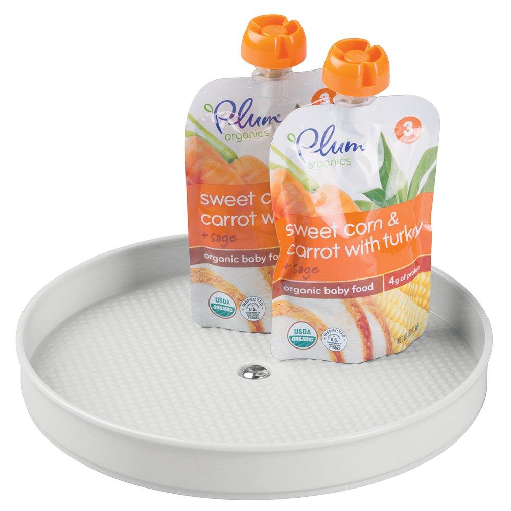 mDesign Organizador bebé - Plato giratorio para el cuatro del bebé - ideal para cómodas, armarios y cajones - gira a 360° - Organizador de juguetes, polvo, loción, shampoo de bebé y más - color gris MetroDecor