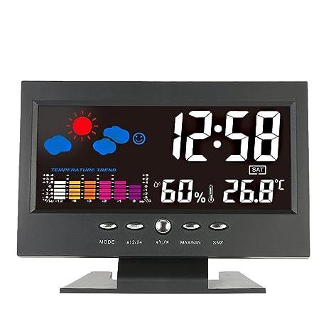 GAOHOU® Termómetro digital LCD multifuncional para interiores Reloj higrómetro Reloj de temperatura y humedad Calendario