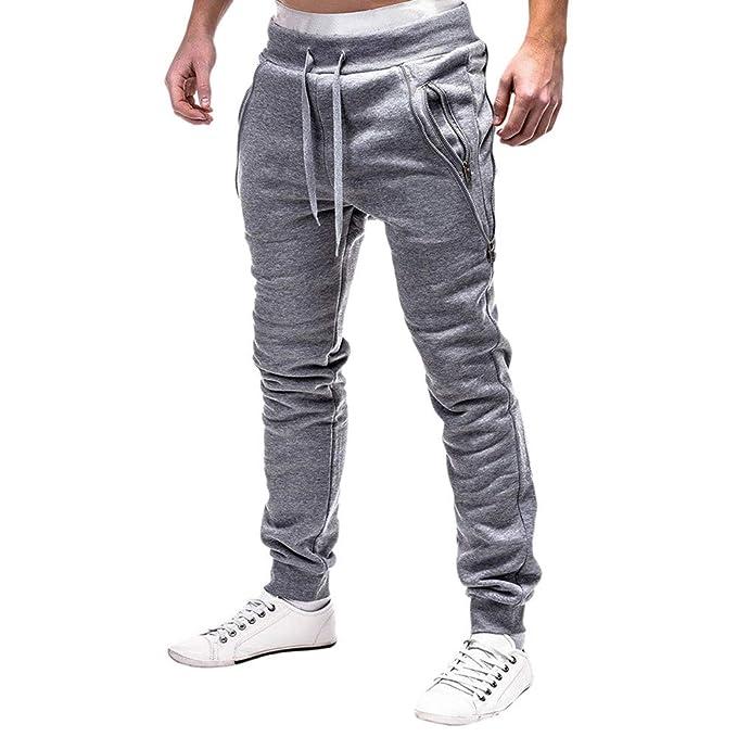 Hombre Pantalones Chandal Anchos Moda para Hombre Deporte Cremallera  Cinturones De Amarre Pantalones De CháNdal Sueltos Ocasionales PantalóN con  CordóN  ... 280797968fcd