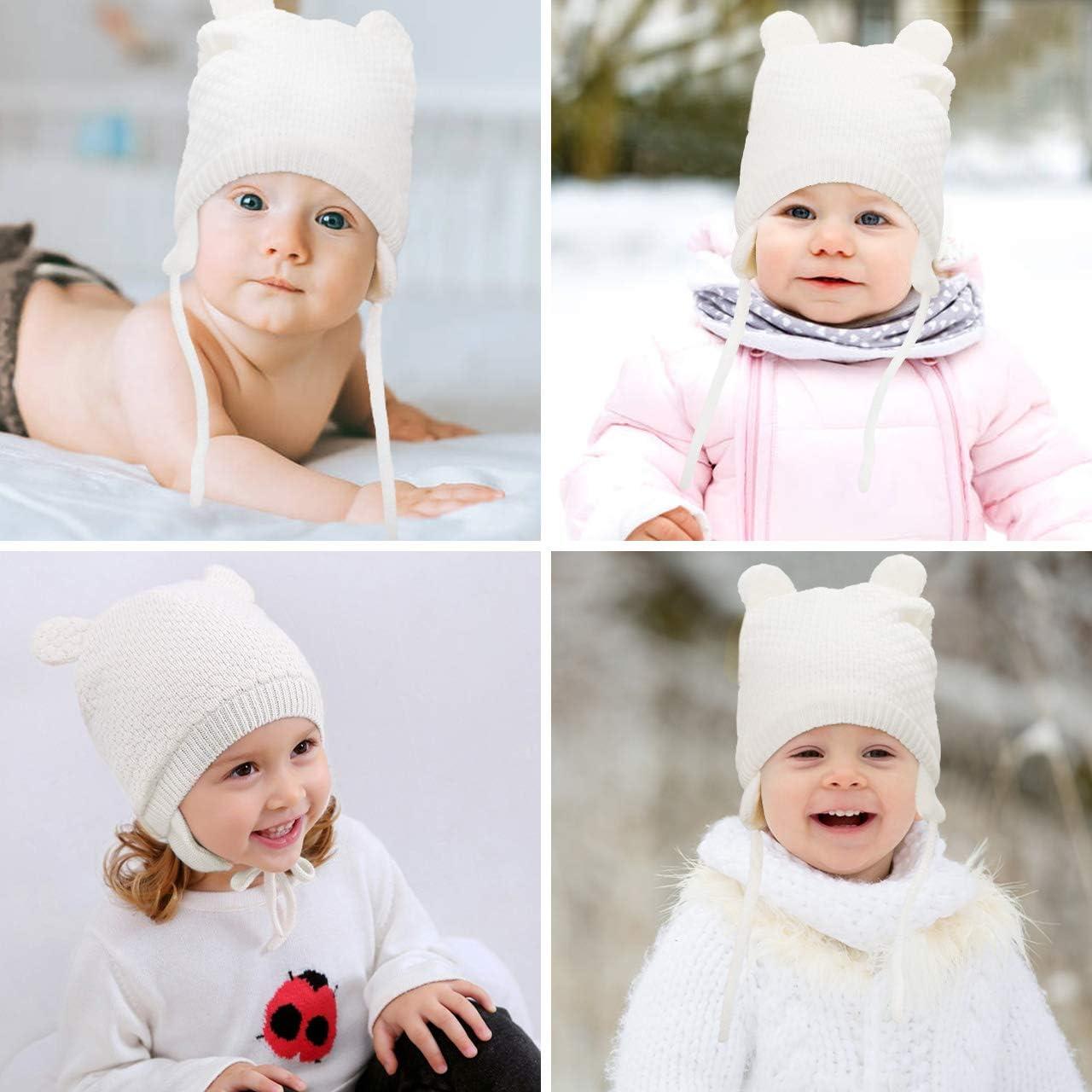 Chapeau Bonnet et Gants Bonnet Chaud Set de 2 Pi/èces pour Enfants 1-3 Ans Bearbro Bonnet tricot/é pour b/éb/é gar/çon Fille Bonnet dhiver