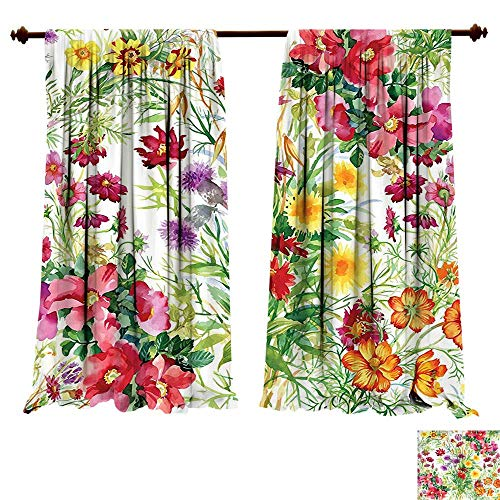 China Rose Garden Block (fengruiyanjing-Home Blackout Draperies Flower Floral Garden Like Romantic Themed Image with Leaves Rose Daisies Image Multicolor Darkening Blackout Drapes for Bedroom (W72 x L72 -Inch 2 Panels))