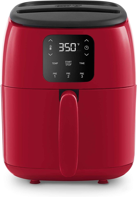 Dash Tasti-Crisp™ Digital Air Fryer with AirCrisp® Technology, Custom Presets, Temperature Control, and Auto Shut Off Feature, 2.6 Quart - Red