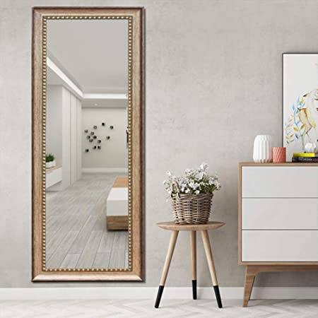 ElevensMirror Full Length Mirror Dressing Mirror Large Floor Mirror Wall-Mounted Mirror, High Polymer Material Frame, Hanging Leaning Against Wall 63 x20 , Bronze