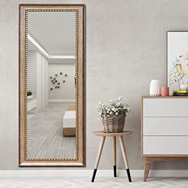 ElevensMirror Full Length Mirror Dressing Mirror Large Floor Mirror Wall-Mounted Mirror, High Polymer Material Frame, Hanging Leaning Against Wall (63 x20 , Bronze)