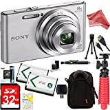 Sony DSC-W830 Cyber-shot 20.1MP 2.7-Inch LCD Digital Camera (Silver) + SDHC Memory Dual Battery Kit + DigitalAndMore Accessory Bundle (32GB)
