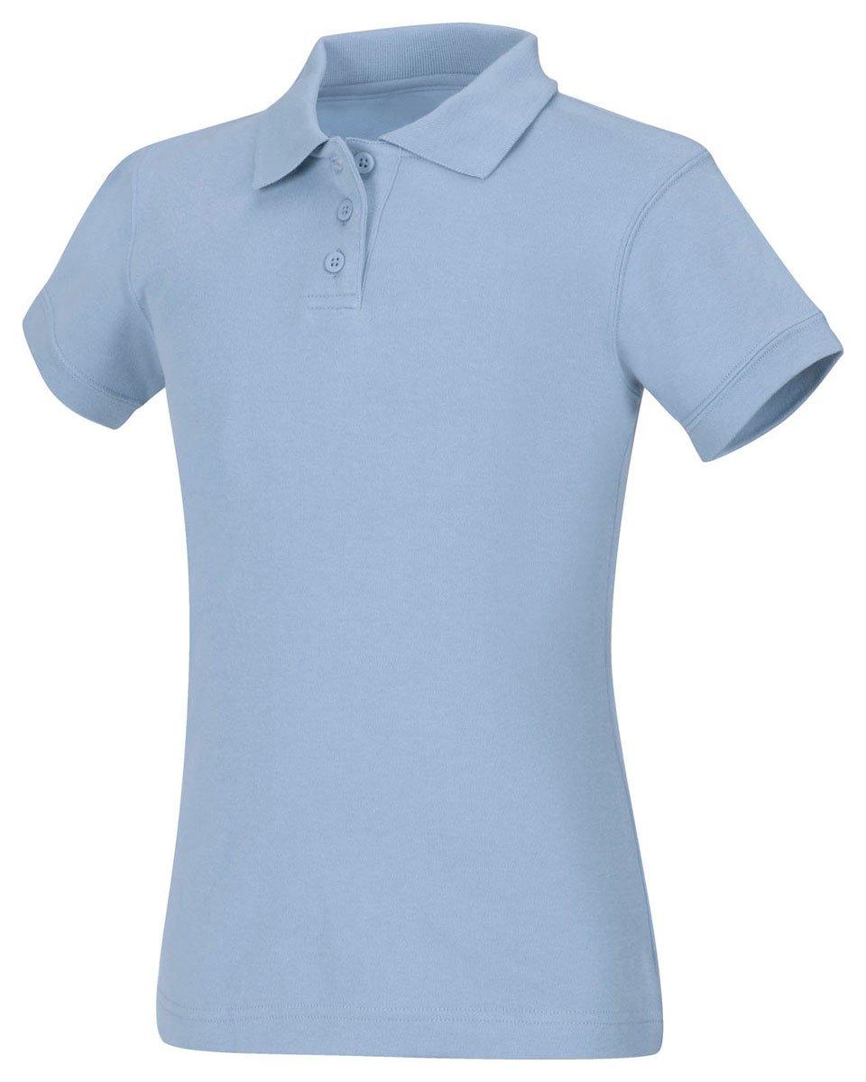 Classroom Uniforms Junior's Short Sleeve Fitted Interlock Polo, Sos Light Blue, M