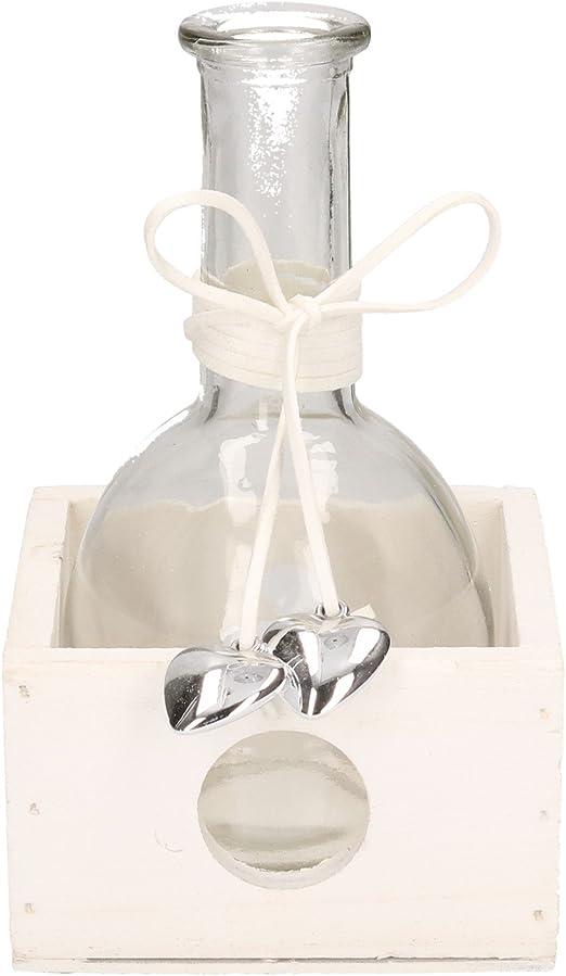 AmaCasa Jarrón de Cristal en Caja con Corazones Color Blanco decoración diseño Madera/Cristal: Amazon.es: Juguetes y juegos