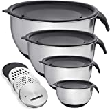 Mixing Bowl with Lid Set of 4, Stainless Steel Serving Bowl for Kitchen Cooking Baking Food Storage with 3 Graters, Size 1.5/2/3/5 QT,Black