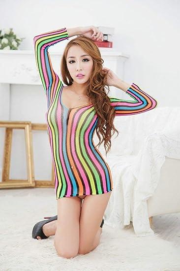 MJY Fun Net Clothes Body Hollow Prendas de vestir Falda de color ...