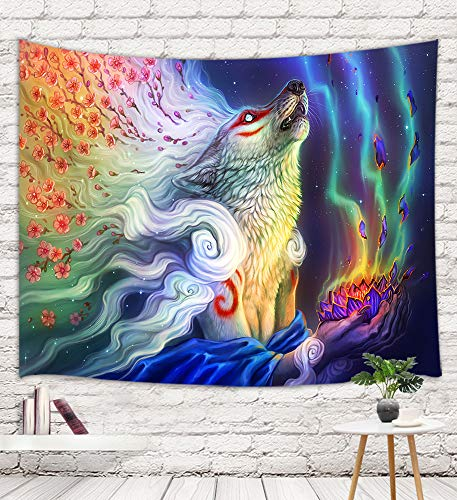 Mystic Wolf Tapestry, Fantasy Trippy Giant Wild Animals with Cherry Blossom Flowers Hand with Hold Lotus Floral at Milky Way Night Tapestry Wall Hanging, Large Wall Tapestry Hippie, 71X60 in
