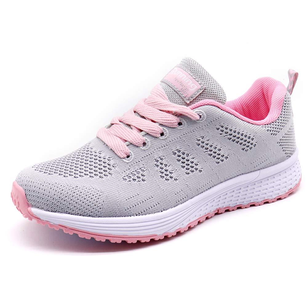 STQ Women Walking Shoes Wide Arch Support Non Slip Comfortable Flexible Fitness Jogging Sport Shoes(A08hui35) Grey