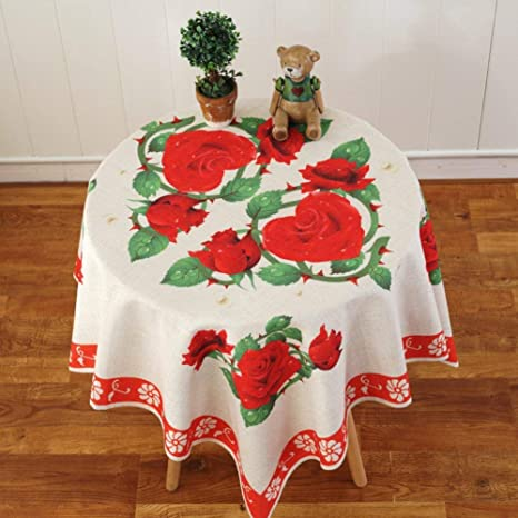 Eeayyygch Mantel Mantel de Mesa de Comedor de Lino Redondo, Estampado Floral Hotel Mantel para