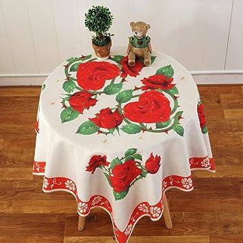 Eeayyygch Mantel Mantel de Mesa de Comedor de Lino Redondo, Estampado Floral Hotel Mantel para Cafe Home Jacquard Fiesta antifouling Mantel - A 110x160cm ...