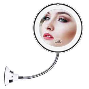"10x Magnifying LED Lighted Makeup Mirror, 7"" Flexible Goose-neck, 360° Swivel Wall Mirror, Bathroom Magnification LED Daylight Vanity Mirror with Suction Cup, Cordless, Bathroom & Travel Mirror"