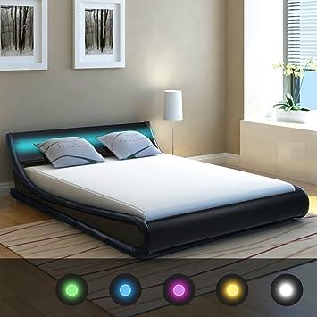 Festnight Cuir synthétique Cadre de lit LED Lit 1,5 m King size avec ...
