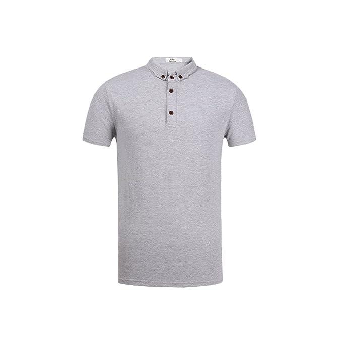 Camisetas De Polo para Hombre Camisas De Cuello Alto De Manga Corta Casual para Hombres Camisa De Caballero De Negocio Clásico Polo Gris: Amazon.es: Ropa y ...