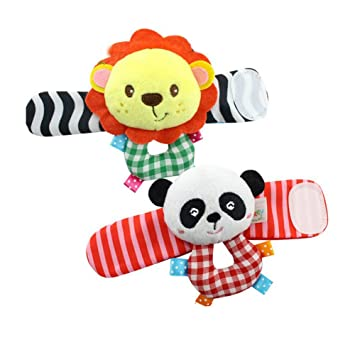 Baby Wrist Rattle Toy Hands Foot Finder Educational Development Toy for  Inflants,Toddlers Panda,Lion