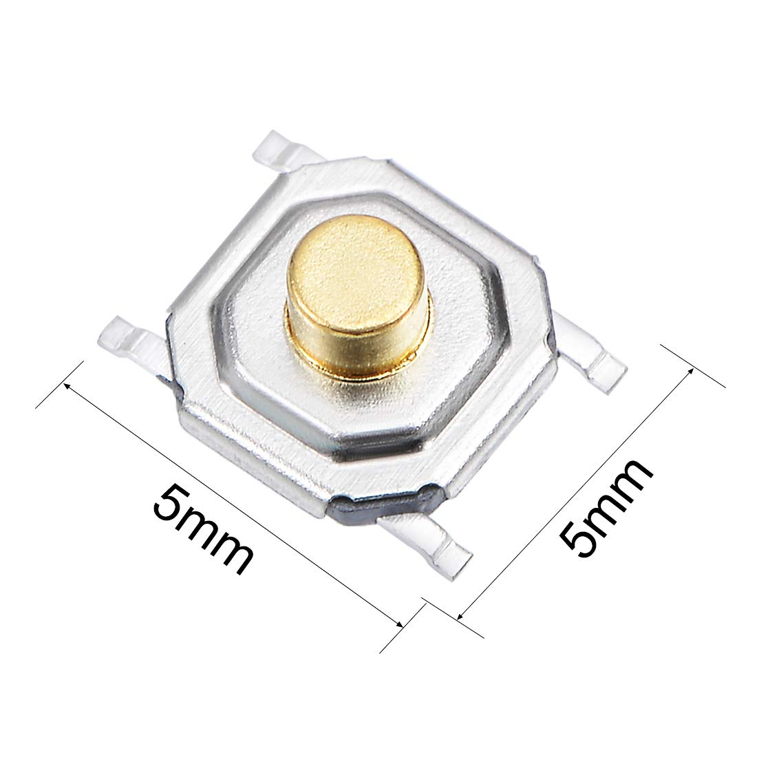 Uxcell 5pcs 5x5x15mm Momentary Panel Pcb Smd Smt Mount 4 Pins Push Button 5mm Spst Tactile