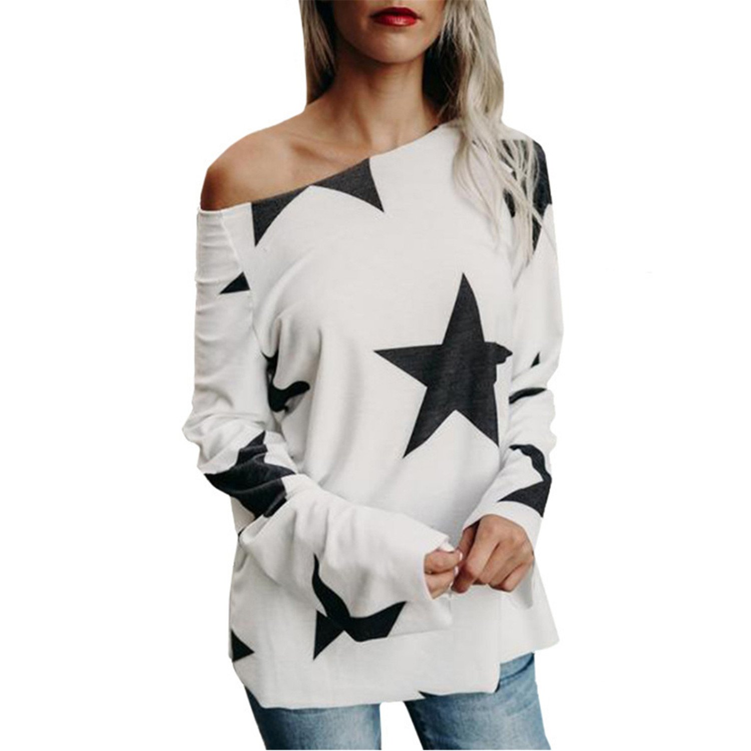 Li-Never Women One Off Shoulder Star Print Blusas Tunic Long Sleeve Pullover Oneck Loose Tops Shirt at Amazon Womens Clothing store: