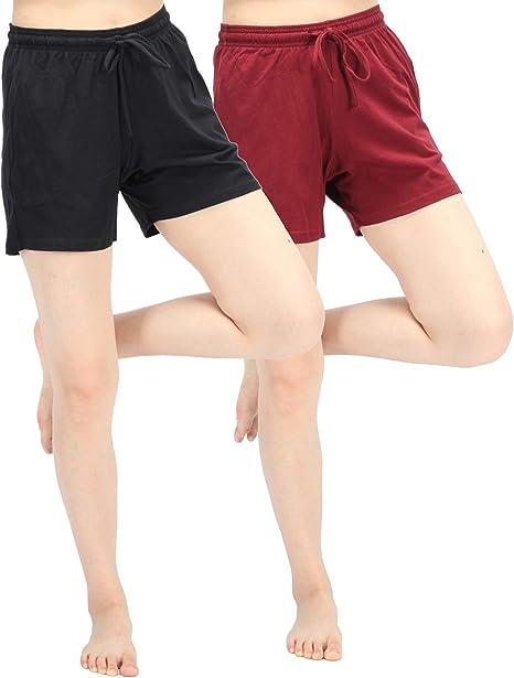WEWINK CUKOO Pantalones Cortos de Pijama de algodón de Primera Calidad para Mujer, Pantalones de Pijama elásticos con Bolsillos: Amazon.es: Ropa y accesorios