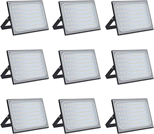 LED Flood Light Outdoor 500W, 40000lumen Warm White 3000K, IP67 Waterproof Super Bright Security Lights, Outdoor Flood Light for Yard, Garden, Playground, Basketball Court -9pack