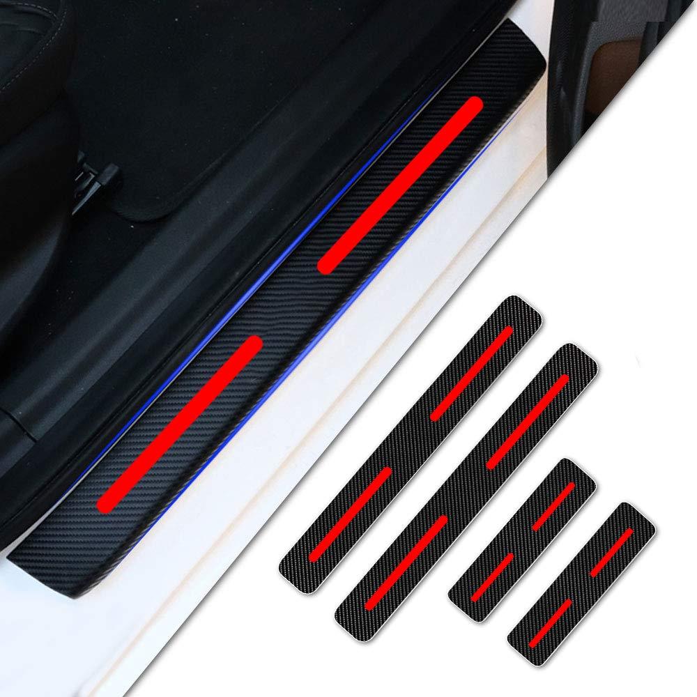 Tuqiang 4 St/ück Auto Einstiegsleisten Schutzfolie reflektierend Zierleisten Kohlefaser Muster Vinyl Aufkleber F/ür CR-V Civic Jazz