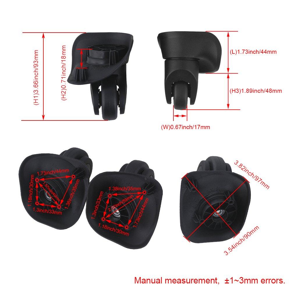 1Pair Small Black Luggage Suitcase 360/° Swivel Wheel Replace 8.5x10.1x5cm