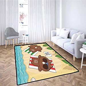 Cartoon Children Climb Mats Summer Holiday with Cute Bear Characters on The Beach Sunbathing Funny Illustration Machine-Washable/Non-Slip Multi 6'6x9'10 Feet