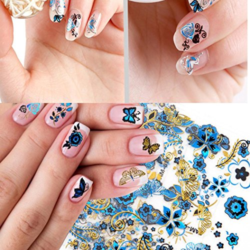 LtrottedJ Nail Art ,Transfer Design Manicure Tips Decal Decoration Butterfly ()