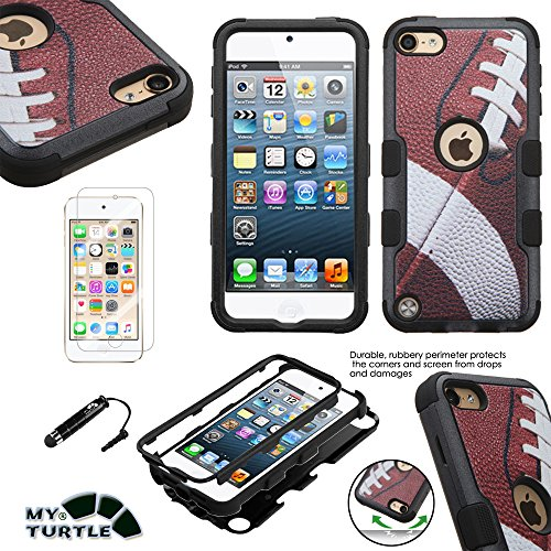 MyTurtle Shockproof Hybrid 3-Layer Hard Silicone Shell Cover with Stylus Pen and Screen Protector for iPod Touch 5th 6th Generation, Ball Football Tuff Apple Ipod Touch Stylus