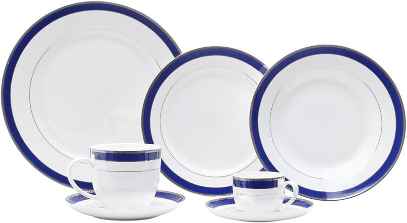 Jogo de Jantar de Porcelana com 42 Peças Alto Relevo Cobalt, Rojemac, Azul