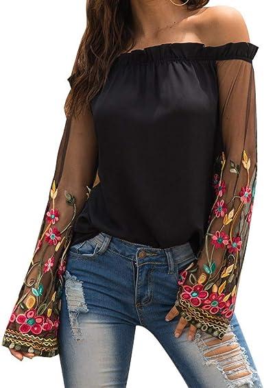 CLOOM Mujer Camiseta Fuera del Hombro Tops Camisa Manga de Bordado de Malla Elegante&Sexy Blusa Shirt Sudadera,para Otoño e Invierno Fiesta/Boda/Vacaciones: Amazon.es: Ropa y accesorios